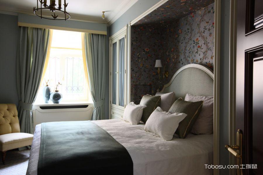 卧室蓝色窗帘美式风格装修效果图