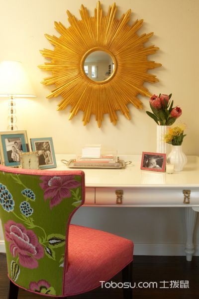 书房白色书桌地中海风格装饰图片