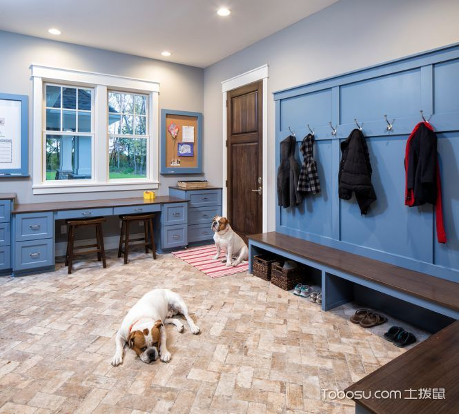 玄关 地砖_复式159平米美式风格装饰效果图