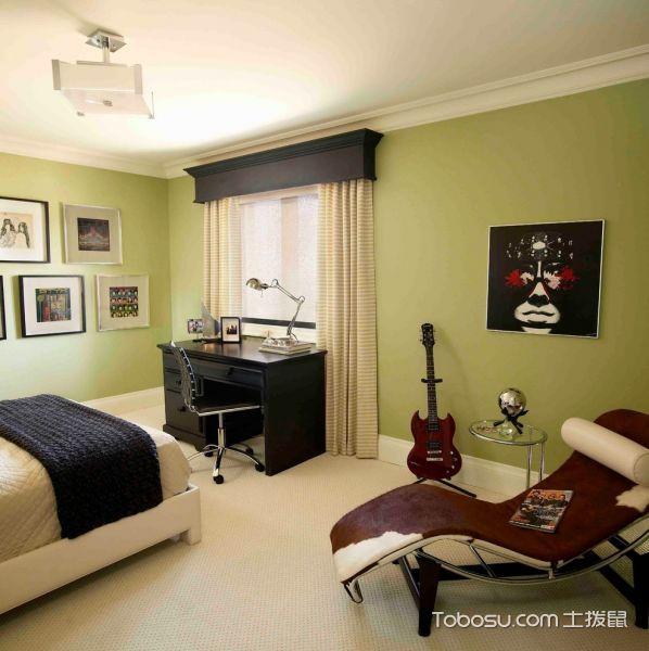 卧室绿色照片墙美式风格装饰设计图片