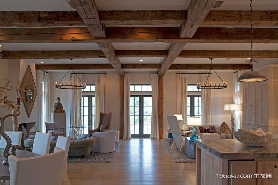 客厅咖啡色窗帘混搭风格装潢设计图片