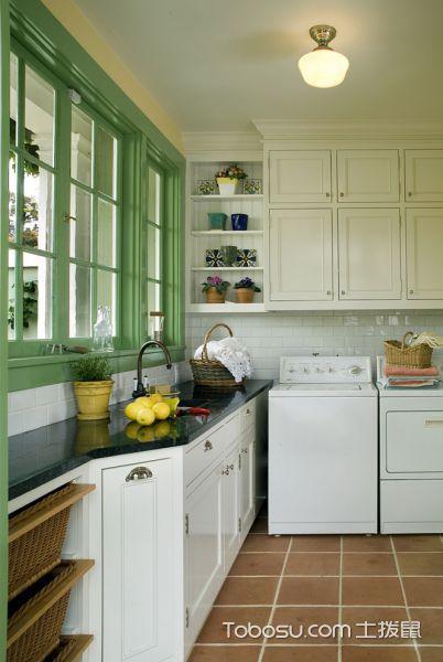 厨房咖啡色地砖美式风格效果图