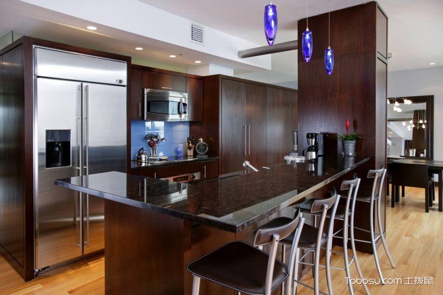 厨房咖啡色厨房岛台现代风格装潢图片