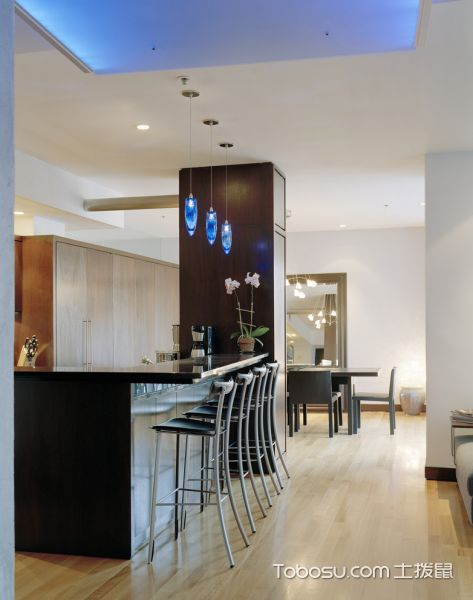 厨房咖啡色地板砖现代风格装修设计图片