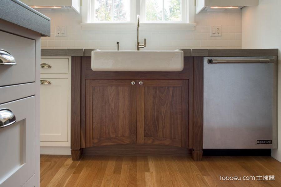 厨房咖啡色地板砖美式风格装饰设计图片