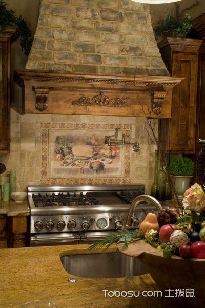 厨房咖啡色厨房岛台地中海风格效果图