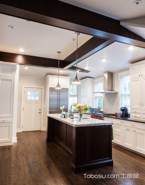 厨房咖啡色地板砖混搭风格装饰图片