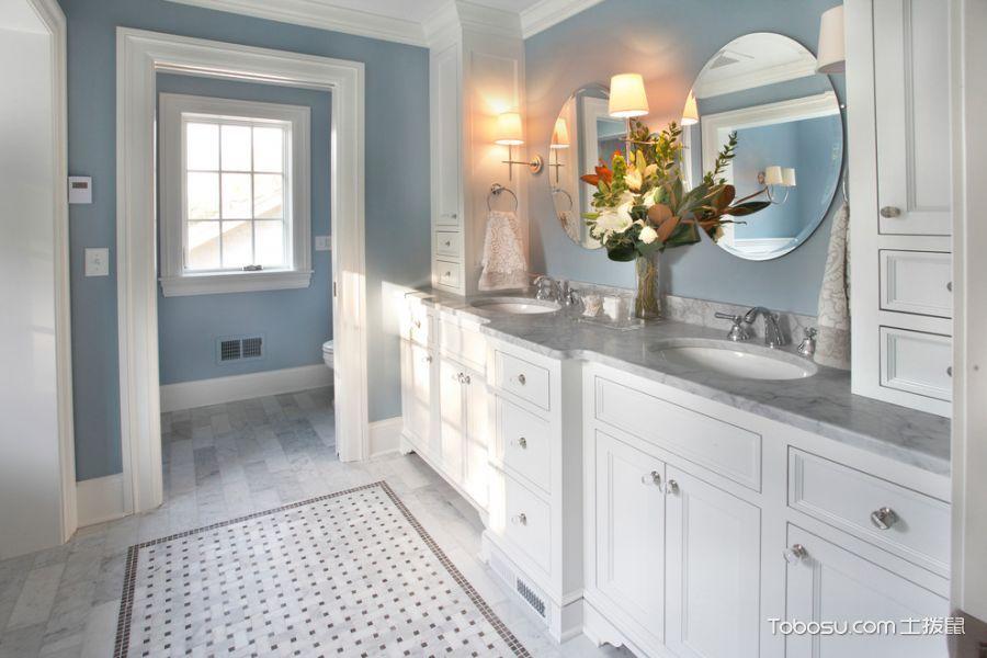 浴室白色洗漱台美式风格效果图