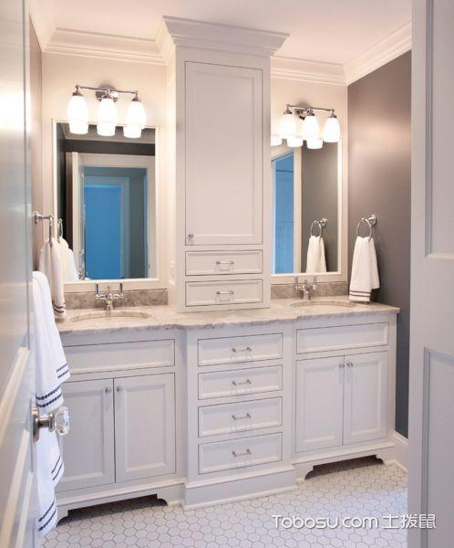 浴室白色洗漱台美式风格装饰效果图