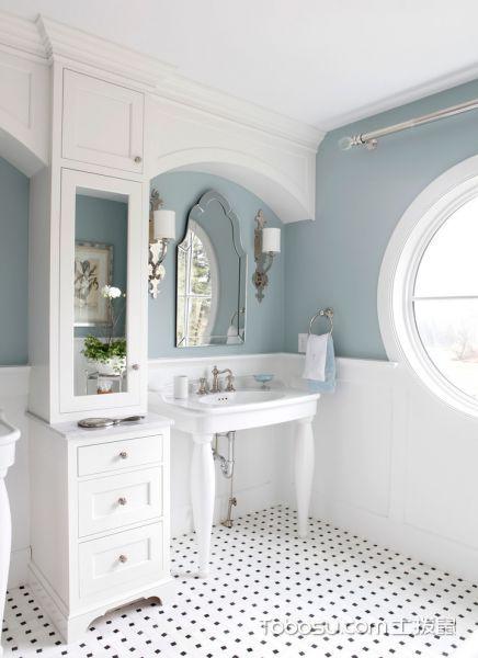 浴室白色洗漱台美式风格装潢设计图片