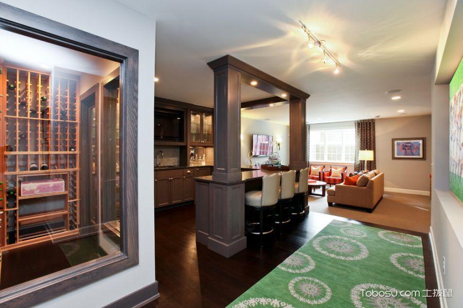 厨房咖啡色地板砖美式风格装修设计图片