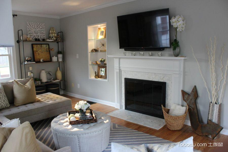 客厅灰色沙发混搭风格装潢设计图片