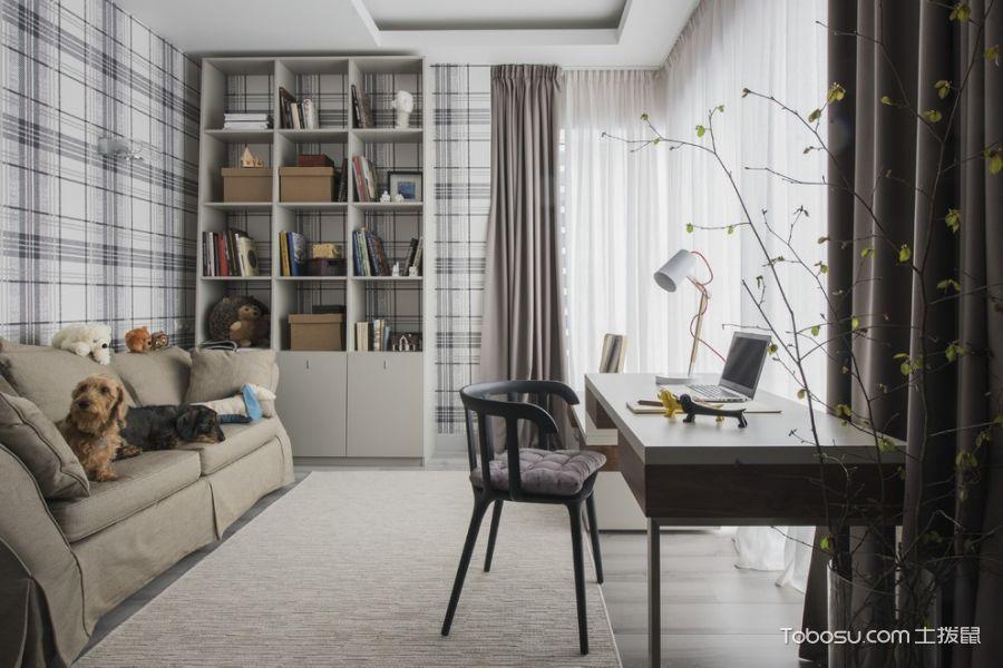 书房灰色窗帘北欧风格装修效果图