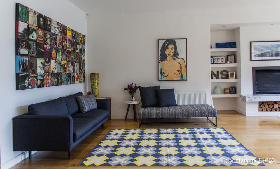 客厅蓝色沙发现代风格装饰效果图