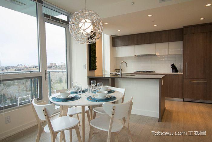 厨房咖啡色橱柜现代风格装潢图片