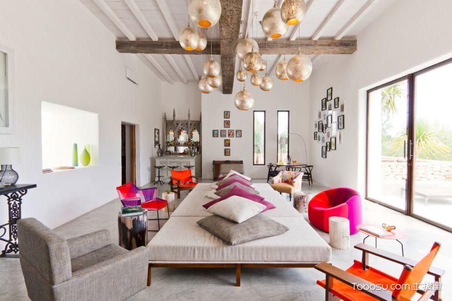 客厅白色沙发混搭风格装潢效果图