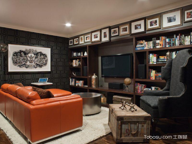 客厅橙色沙发现代风格效果图