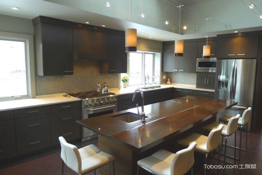 厨房咖啡色餐桌现代风格装饰效果图