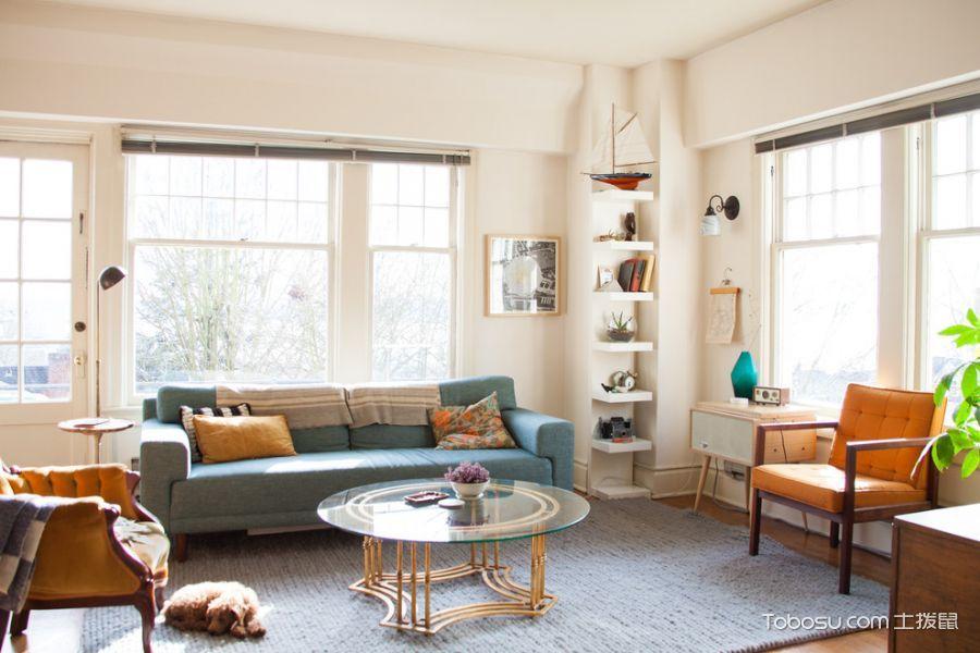 客厅咖啡色沙发混搭风格装饰设计图片
