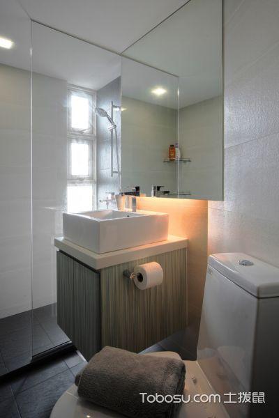 浴室白色洗漱台现代风格装修图片
