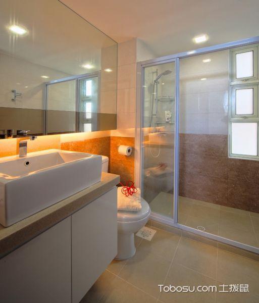 卫生间灰色洗漱台现代风格装潢图片