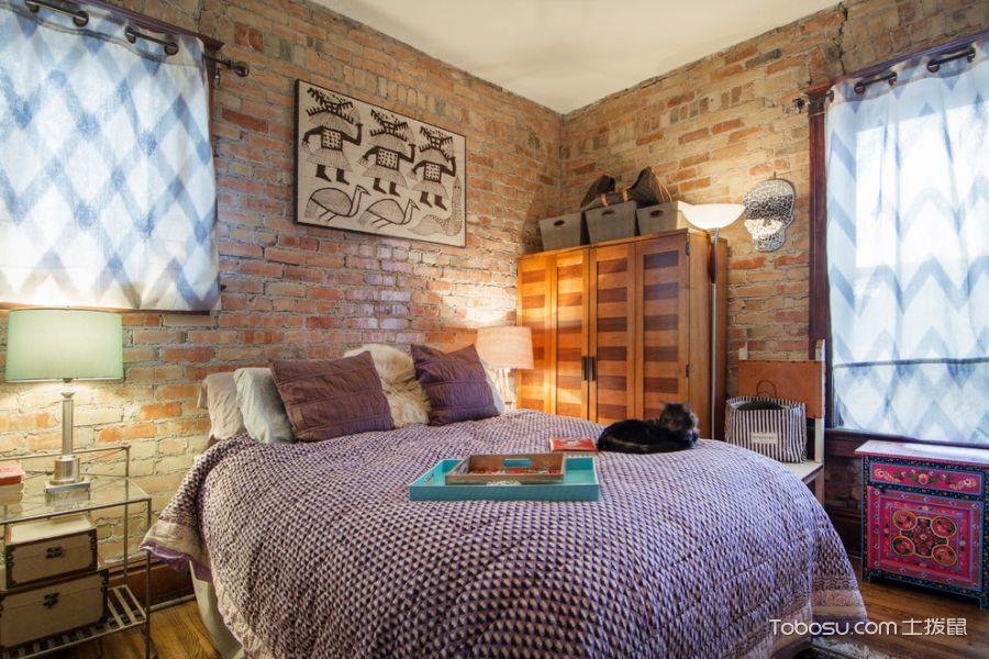 卧室咖啡色背景墙混搭风格装修效果图
