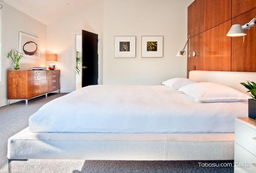 卧室白色床现代风格装潢图片