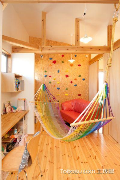 儿童房黄色床混搭风格装修图片
