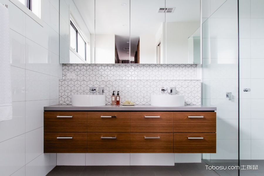 卫生间白色洗漱台现代风格装修效果图