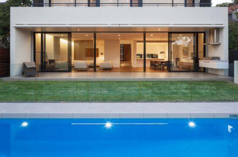 花园蓝色泳池现代风格效果图
