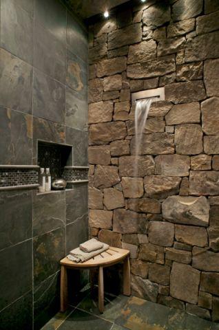 浴室灰色背景墙美式风格装修设计图片