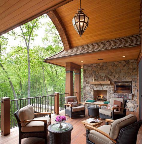 阳台咖啡色地板砖美式风格装饰设计图片