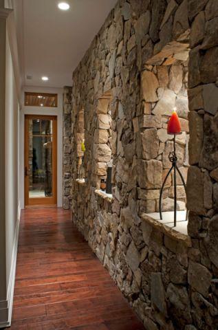 玄关咖啡色走廊美式风格装潢效果图