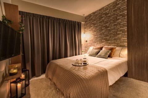卧室咖啡色窗帘北欧风格装修设计图片