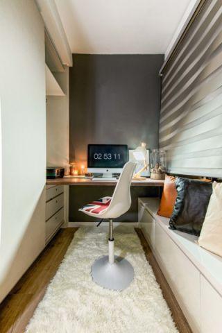 书房咖啡色书桌北欧风格效果图