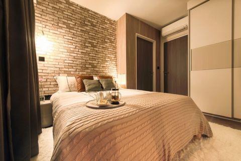 卧室咖啡色背景墙北欧风格装修效果图