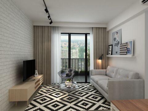 客厅黄色电视柜北欧风格装饰效果图