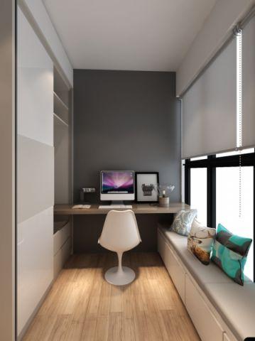 书房灰色窗帘北欧风格装潢效果图