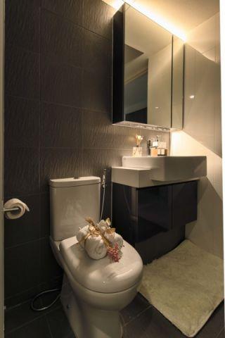 浴室灰色背景墙北欧风格装修图片
