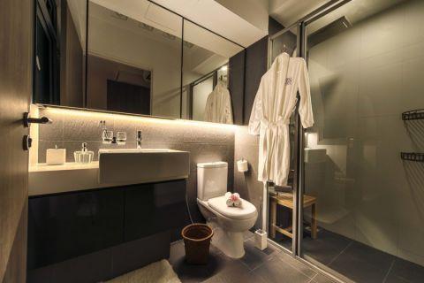 浴室黑色洗漱台北欧风格装饰图片