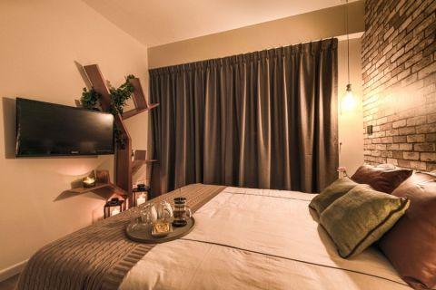 卧室咖啡色床北欧风格装饰设计图片