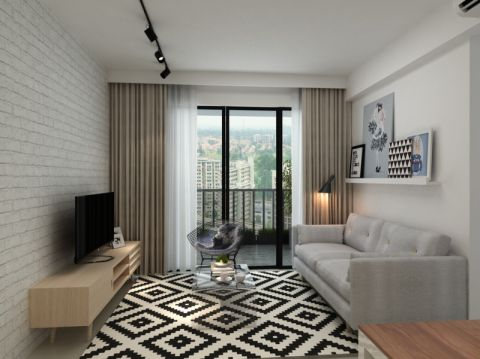 客厅黄色电视柜北欧风格装修效果图