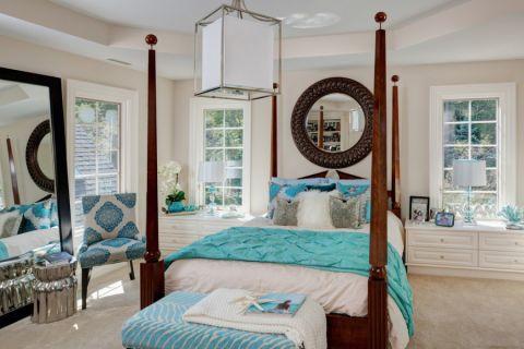 卧室床头柜美式风格装饰设计图片