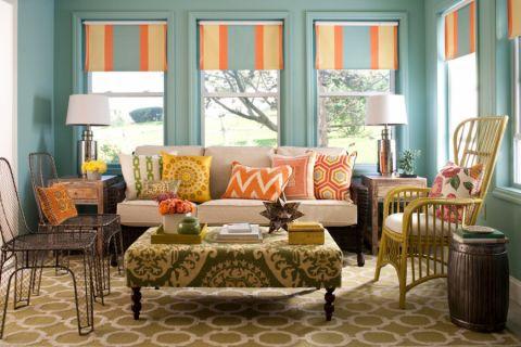 客厅彩色窗帘混搭风格装修效果图