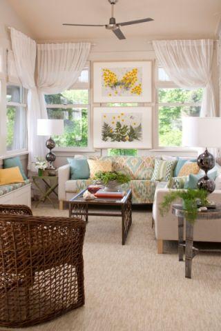 客厅白色窗帘混搭风格装修图片