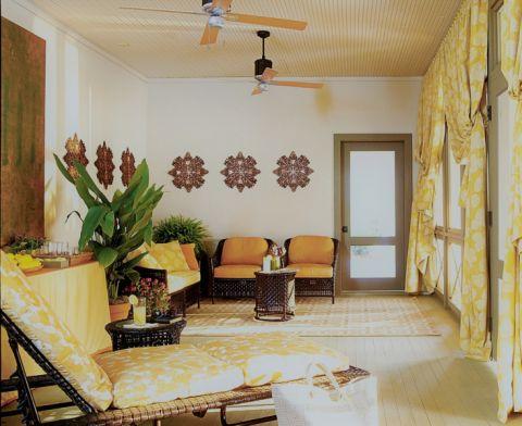 客厅黄色窗帘混搭风格装潢图片