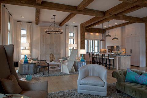 客厅咖啡色吊顶混搭风格装饰效果图