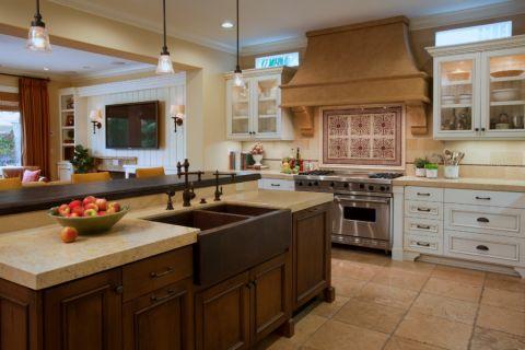 厨房厨房岛台地中海风格装潢效果图