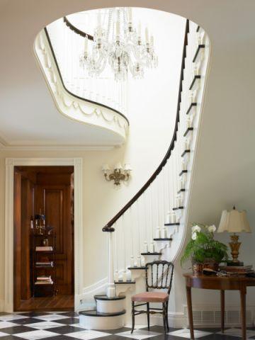 玄关楼梯美式风格装饰设计图片