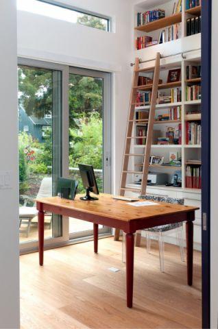 书房白色书架现代风格装潢效果图